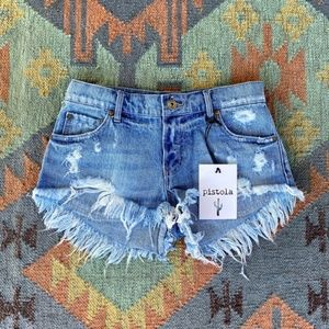 Pistola Low Rise Distressed Cut-Off Shorts Size 26